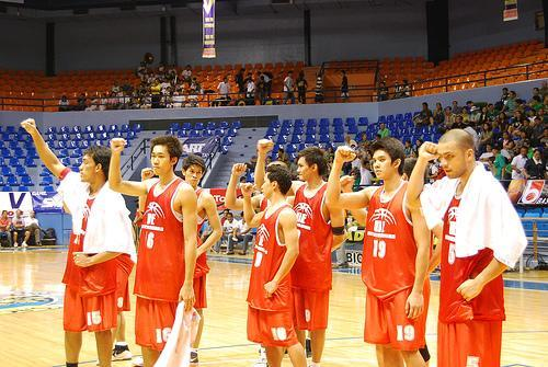Fresh from La Salle's uncivilized, unsportsmanship shock. The victorious Recto-based cagers.