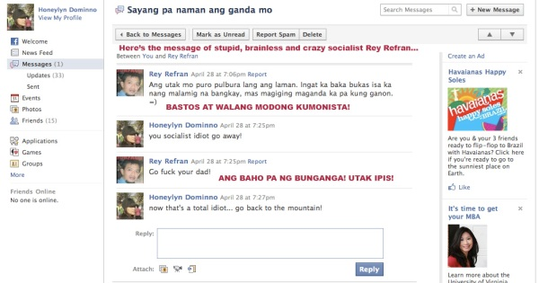 Stupid and brainless Rey Refran threatening another Facebook user.