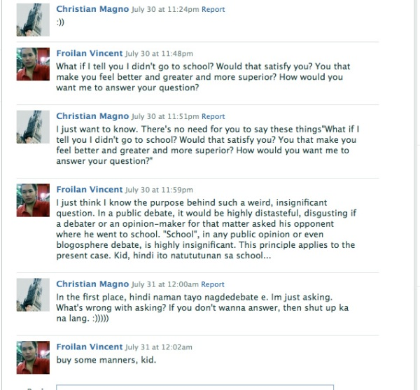 A Facebook conversation with a certain Christian Magno purportedly from the UP-Diliman.