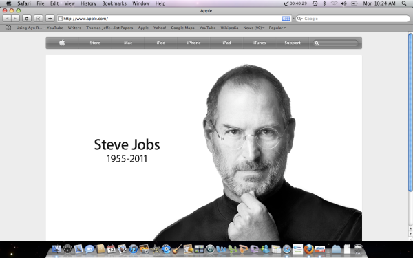 Snapshot from my Apple computer. RIP, Steve Jobs...